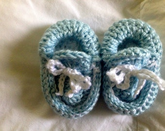 Hand Knit/Crochet Baby Blue and White Baby Moccasins
