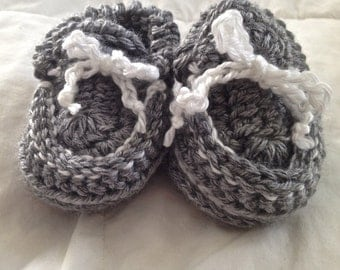 Hand Knit/Crochet Gray and White Baby Moccasins