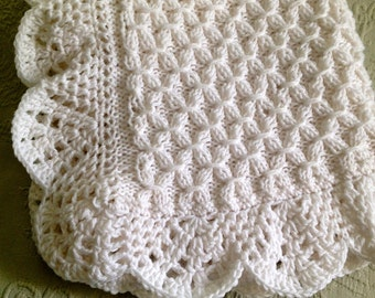 Knit Popcorn Stitch Baby Blanket : Hand knit Smock pattern Baby Blanket with Beautiful Crocheted Edge - many col...
