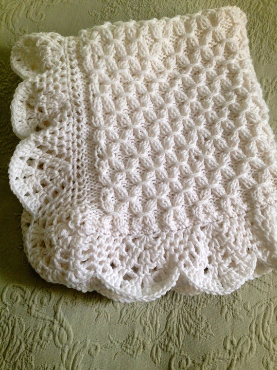 Hand Knit Smock Pattern Baby Blanket With Beautiful Crocheted