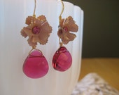 Upcycled Pink Flower Earrings with Swarovski Drops