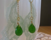 Lovely Green Dangle Earrings with Vintage Lace