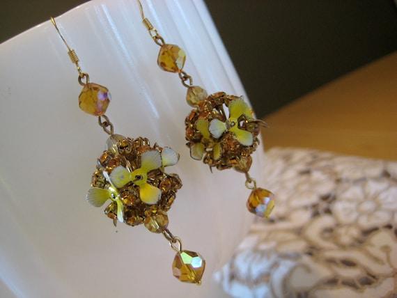OOAK Floral Earrings with Amber Rhinestone