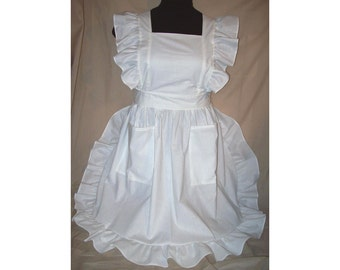 Medium/Large Ruffled Bib Apron Pinafore,  white polycotton blend