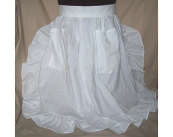 Medium/Large Ruffled Half Apron white polycotton blend