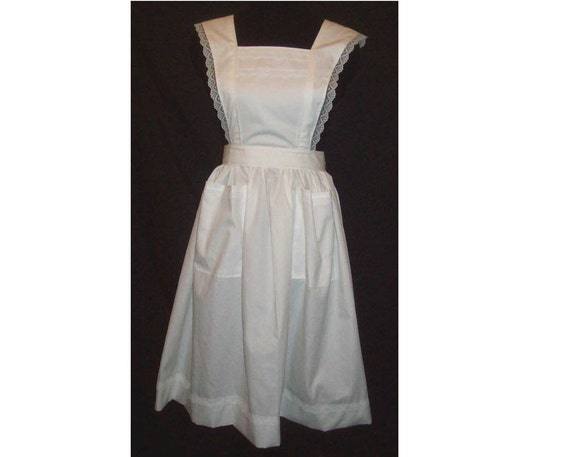 Plus size 3X Flare Strap Bib Apron with lace trim, white polycotton blend