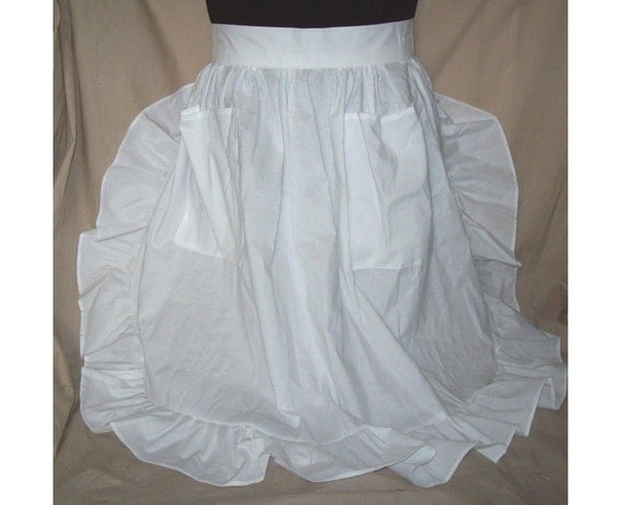 PLUS SIZE 3X Ruffled Half Apron white or gingham check fabric