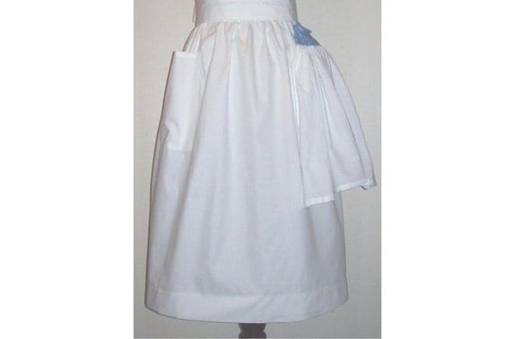 Plus size 2X No-nonsense Half Apron with kitchen towel white or gingham check fabric