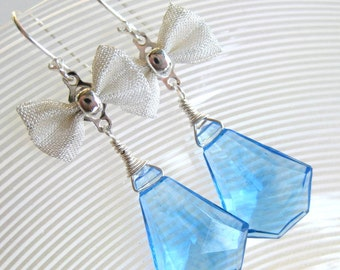 Silver bow earrings with blue lucite and sterling silver  fancy dress retro prom chandelier prism jewelry --Only You--