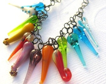 Glass beaded necklace oxidized sterling silver rainbow colors boro glass casual beaded jewelry--Walking on Sunshine--