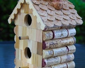 """Birdhouse """"Two Story Straight"""", wood and wine corks"""
