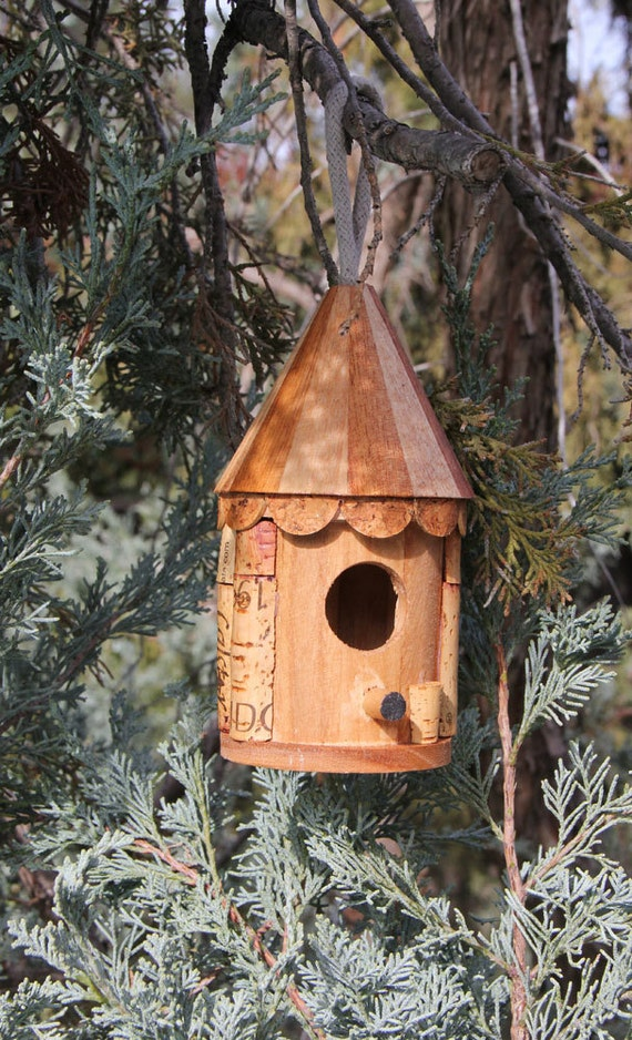 Little Roundhouse birdhouse, wood and wine corks