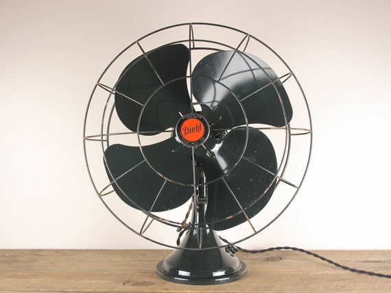 Vintage Large 1930's Diehl Oscillating Table Fan - All Original, Beautiful Vintage Paint, Rewired - Absolutely Lovely Industrial Chic