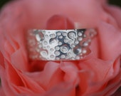 Chunky silver ring, hammer texture - Olive Juice Ring
