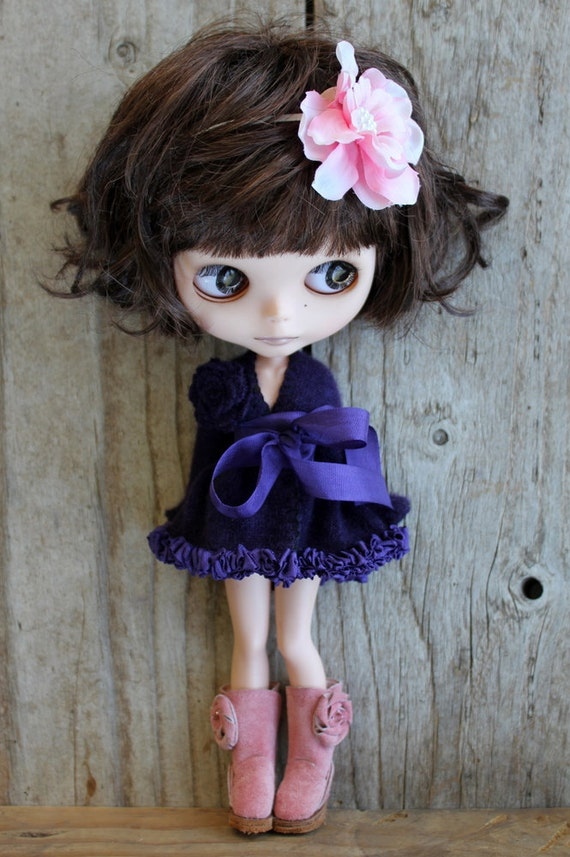 Deep Purple Cashmere Long Cardigan (sweater) : for Blythe or Pullip