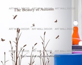 Autumn Reed Flowers in the Wind (Sienna) - PEEL and STICK removable Vinyl Wall Decal, Wall Sticker, Wall Decor (FREE shipping)