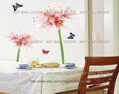 Giant Spout Pink Lily - PEEL and STICK Removable Vinyl Wall Decal, Wall Sticker, Wall Decor (FREE shipping)