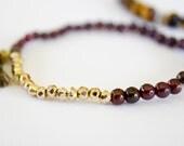 Garnet 3mm, Pyrite Fools Gold Horn Bracelet