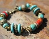 "Turquoise,  7.5""-9"" bracelet, antique brass beads"
