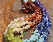 "Chunky Rainbow Necklace, 20"" long, 5 strands.Balancing chakra and brightening your aura."