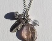 "Energy healing natural Spirit Quartz Pendant necklace , silver plated chain 24"" long"