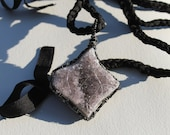 """Chunky Amethyst geode cluster pendant,black-silver colour wire wrapped, with 34"""" black strand. For your Energy healing, easy to carry-on."""