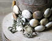 """Natural Fossil Coral, 7""""-9"""" eleastic bracelet, 3 in one set."""