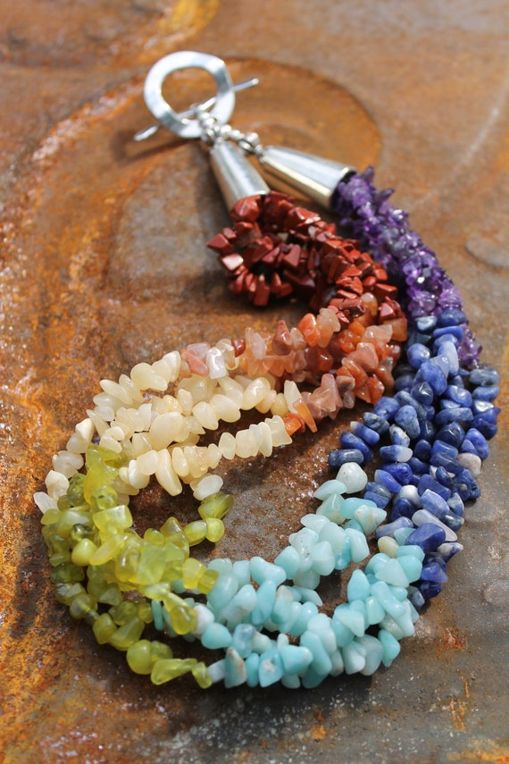 """Chunky Rainbow Necklace, 20"""" long, 5 strands.Balancing chakra and brightening your aura."""