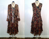 1920s Chiffon Flutter Flapper Dress - Matching Jacket - Reproduction Upcycled - Large Size