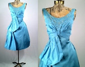 Eco Vintage 1950s Dress, Upcycled Baby Blue Cocktail Gown