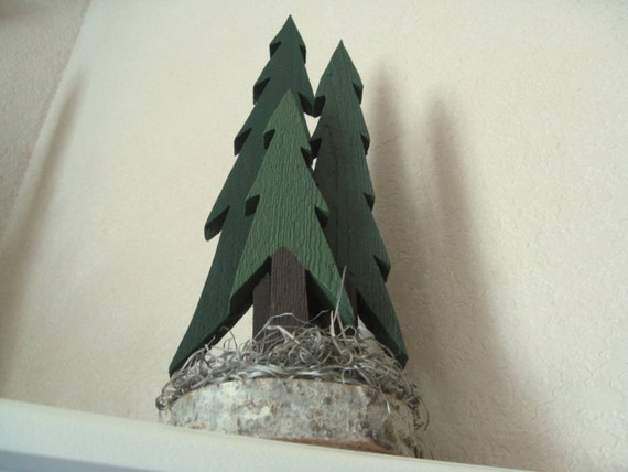 Pine Trees Wooden Decorative - Tall Thin Trees (3)