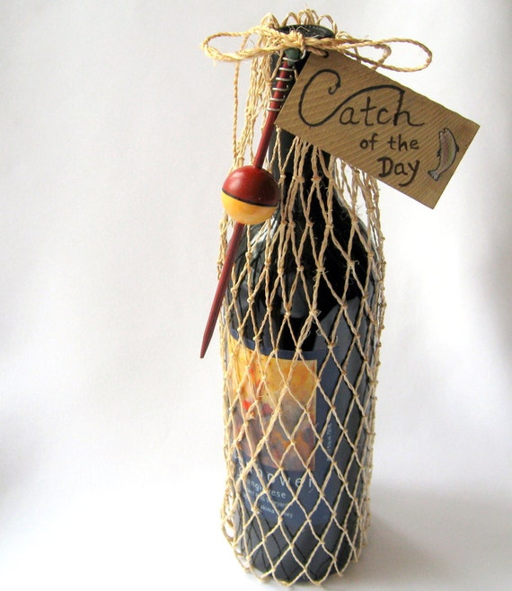 Fishing Net Wine or Gift  Bag - Catch of the Day with Round Bobber