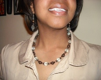 Brown/Crystal/Silver Beaded Necklace and Dangle Earrings Set