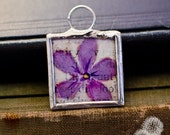 "Hand painted soldered glass pendant necklace: Square, 1"" x 1"", PURPLE FLORAL"