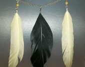 Yellow and black feather necklace