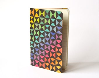 Rainbow Pocket Moleskine Squared Mini Journal, hand drawn and painted optical abstract contemporary art