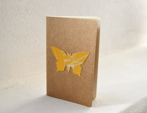 RESERVED LISTING - set of 3 one of a kind pocket Moleskines with handpunched cardboard butterflies