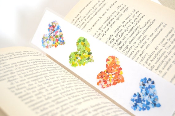 Back To School laminated bookmark - rainbow colorful hearts - VeraPaperLab