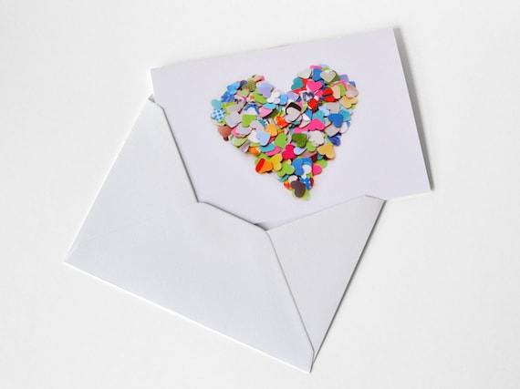 Greeting card with colorful heart - with envelope