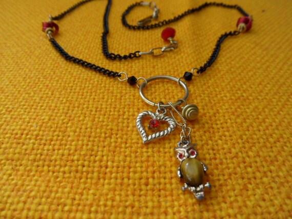 Owl Love Vintage upcycled necklace Black Gold Red Tiger Eye