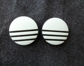 Vintage Black and White Stiped Pierced Earrings.