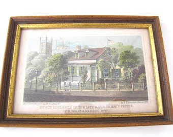 D.T. Valentine's Manual 1863 - New York City Scene Framed Antique Print