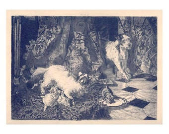1870 Antique French Engraving by Philippe Rousseau-Mama Cat Protecting Her Kittens ON SALE Final Price