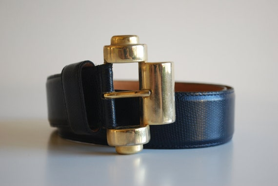 Just Reduced // Vintage DIOR Navy Leather Belt with Gold Art Deco Buckle