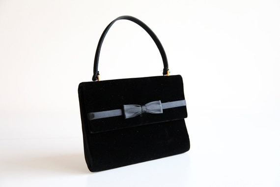 1960s GUCCI Black Velvet and Satin Evening Bag with Matching Mini Coin Purse