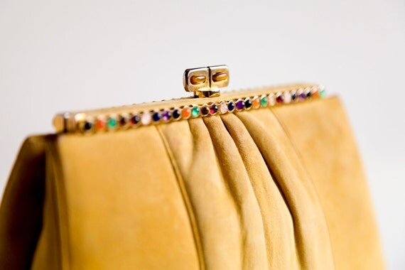 Exotic JUDITH LEIBER Mustard Suede Clutch Bag with Multicolor Beaded Cabochon Clasp