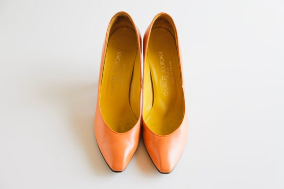 Tangerine Vintage Charles Jourdan Heels Size 7.5 - 8
