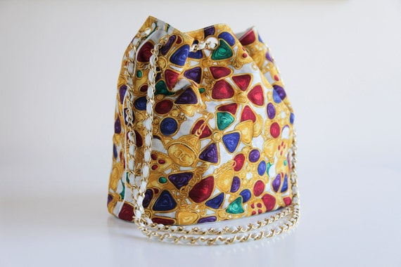 Rare CHANEL 90s Gripoix Jewelry Print Canvas Drawstring Tote Bag with Leather and Chain Straps