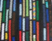 Crocheted Afghan PATTERN - Scrap Blanket - Black with Colored Stripes