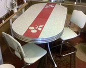 Vintage 1950's Retro Red and Chrome Table Dinette Set Apple design with 2 white chairs